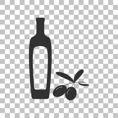 salad dressing: Black olives branch with olive oil bottle sign. Dark gray icon on transparent background.