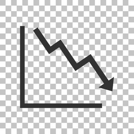 downwards: Arrow pointing downwards showing crisis. Dark gray icon on transparent background.