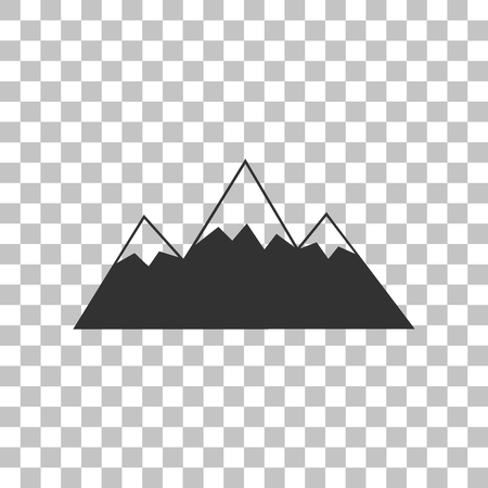 snow capped: Mountain sign illustration. Dark gray icon on transparent background. Illustration