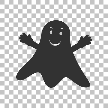 Ghost isolated sign. Dark gray icon on transparent background.