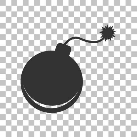 bomb sign: Bomb sign illustration. Dark gray icon on transparent background.
