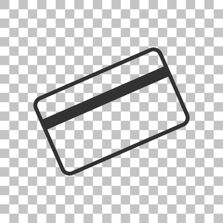 magnetic clip: Credit card symbol for download. Dark gray icon on transparent background. Illustration