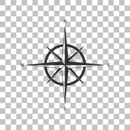 rosa de los vientos: El viento se levantó signo. Oscuro icono gris en el fondo transparente.