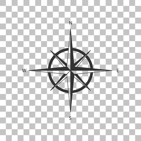 Wind rose sign. Dark gray icon on transparent background. Illustration