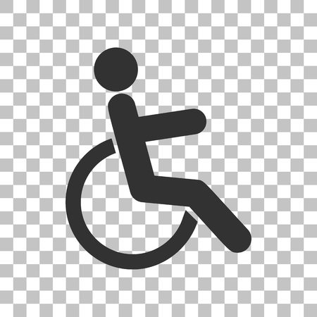 disabled sign: Disabled sign illustration. Dark gray icon on transparent background. Illustration