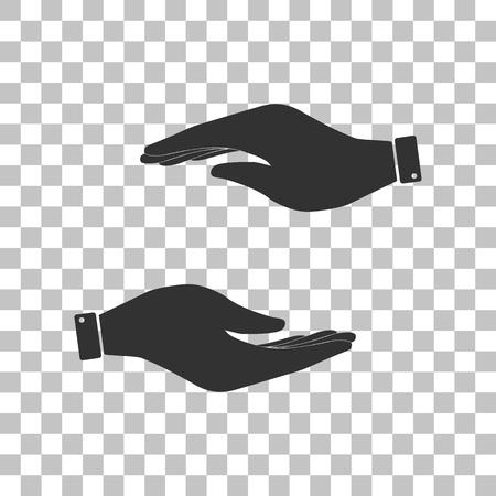 www arm: Hand sign illustration. Dark gray icon on transparent background.