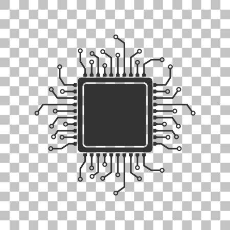 CPU Microprocessor illustration. Dark gray icon on transparent background.