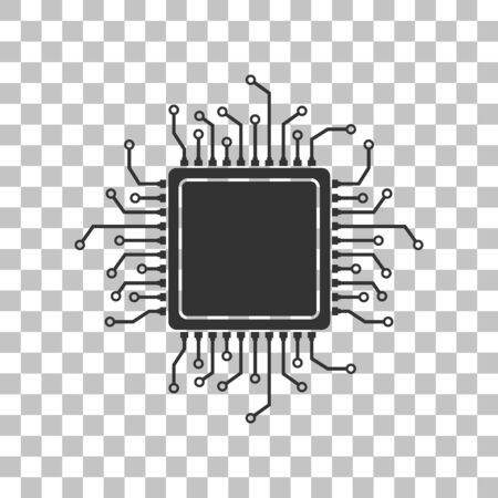 microprocessor: CPU Microprocessor illustration. Dark gray icon on transparent background.