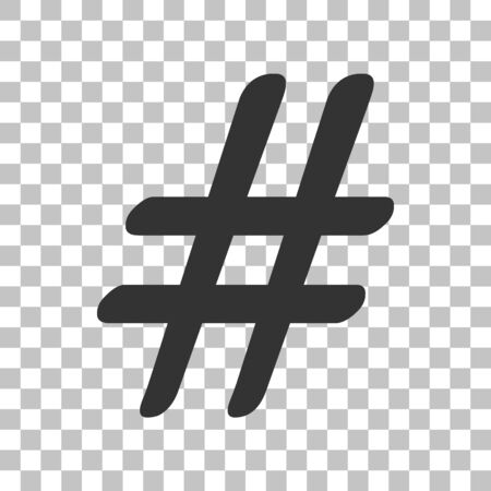 Hashtag sign illustration. Dark gray icon on transparent background.