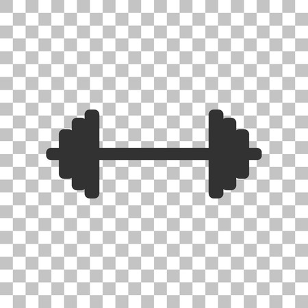 weights: Dumbbell weights sign. Dark gray icon on transparent background. Illustration