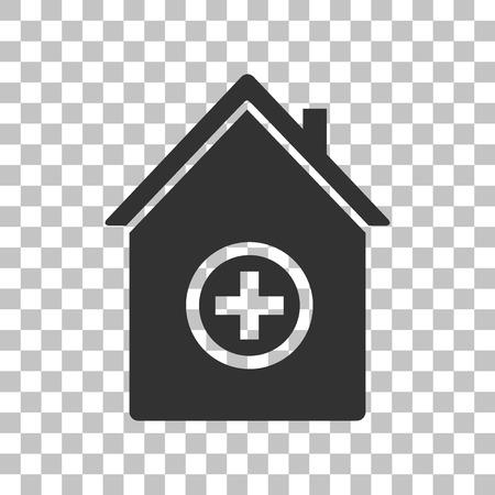 emt: Hospital sign illustration. Dark gray icon on transparent background.
