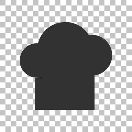 replaceable: Chef cap sign. Dark gray icon on transparent background.