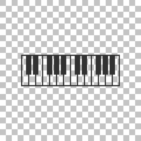 acoustically: Piano Keyboard sign. Dark gray icon on transparent background.
