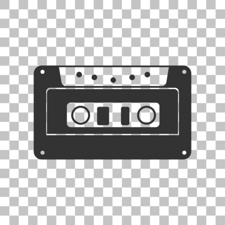 electronic 80s: Cassette icon, audio tape sign. Dark gray icon on transparent background. Illustration
