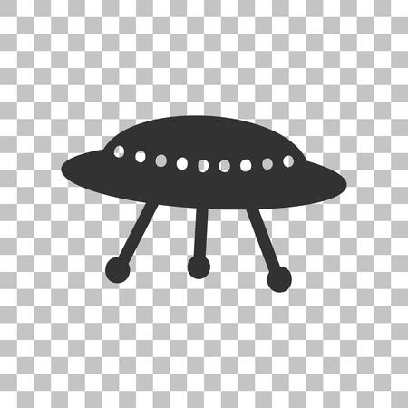 area 51: UFO simple sign. Dark gray icon on transparent background.