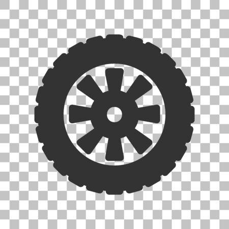 Road sign des pneus. Sombre icône grise sur fond transparent.