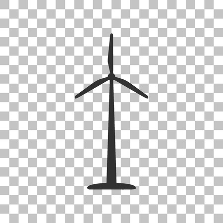 Wind turbine logo or sign. Dark gray icon on transparent background. Illustration