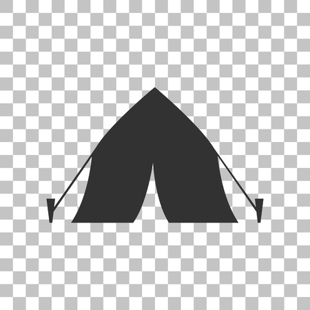 yellow adventure: Tourist tent sign. Dark gray icon on transparent background.
