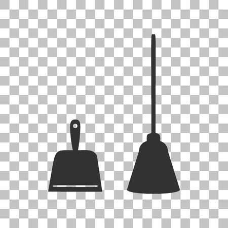 housework: Dustpan vector sign. Scoop for cleaning garbage housework dustpan equipment. Dark gray icon on transparent background. Illustration