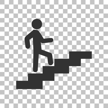Man on Stairs going up. Dark gray icon on transparent background.