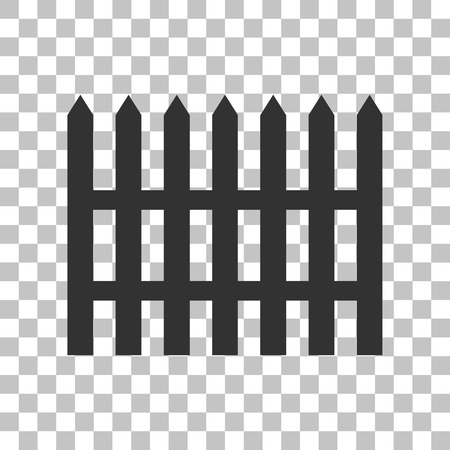 dissociation: Fence simple sign. Dark gray icon on transparent background.