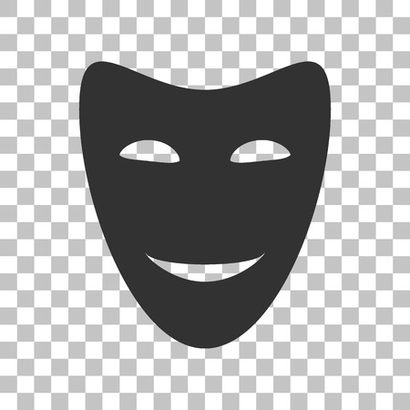 comedy: Comedy theatrical masks. Dark gray icon on transparent background.