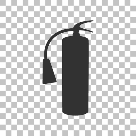 flammability: Fire extinguisher sign. Dark gray icon on transparent background. Illustration