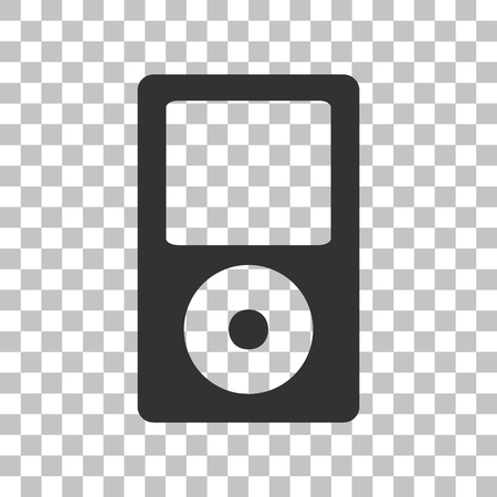 mp: Portable music device. Dark gray icon on transparent background.