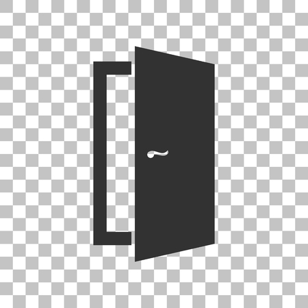 door sign: Door sign illustration. Dark gray icon on transparent background. Illustration