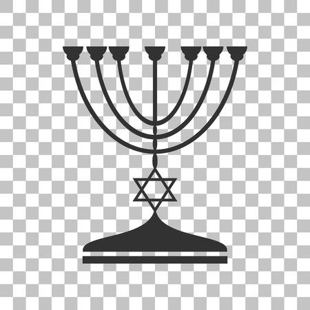 Jewish Menorah candlestick in black silhouette. Dark gray icon on transparent background.