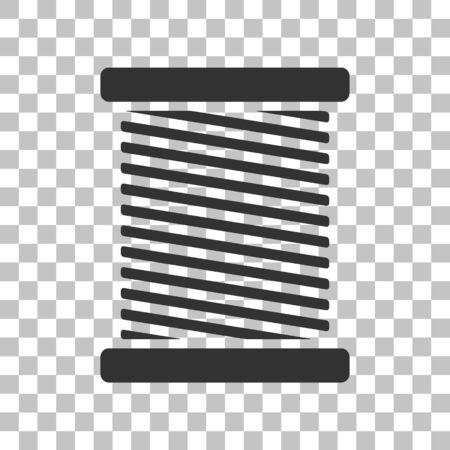 gray thread: Thread sign illustration. Dark gray icon on transparent background.