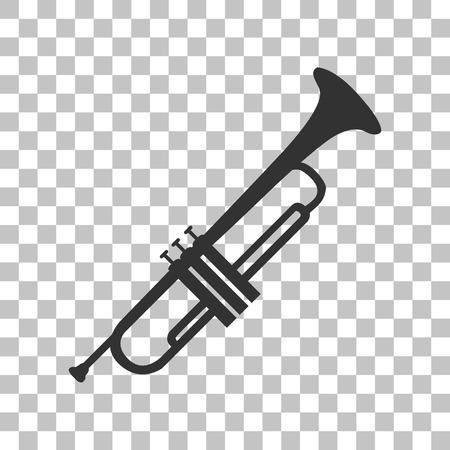 brass: Musical instrument Trumpet sign. Dark gray icon on transparent background. Illustration