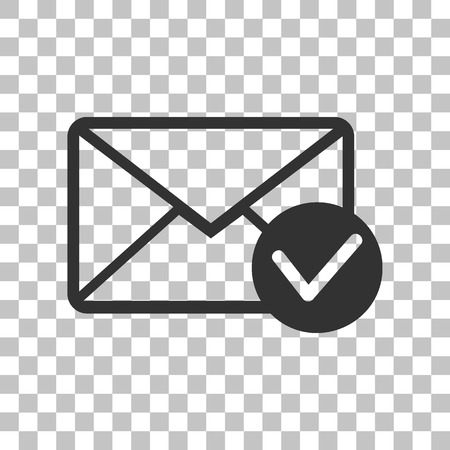 allow: Mail sign illustration with allow mark. Dark gray icon on transparent background. Illustration