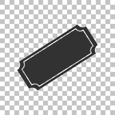 Ticket sign illustration. Dark gray icon on transparent background.