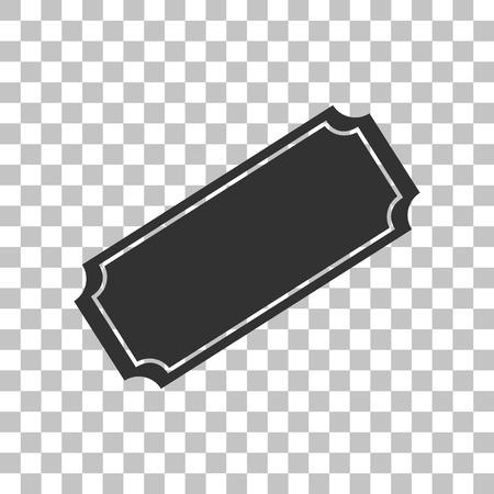 stub: Ticket sign illustration. Dark gray icon on transparent background.