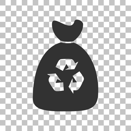 bin tub: Trash bag icon. Dark gray icon on transparent background. Illustration