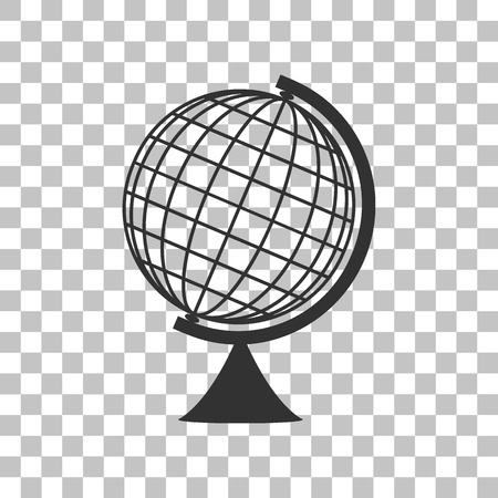 navigation aid: Earth Globe sign. Dark gray icon on transparent background.