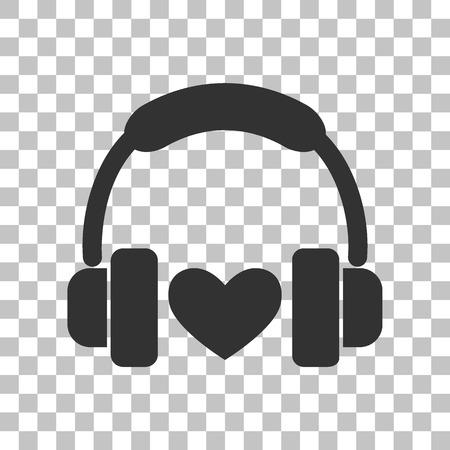 Headphones with heart. Dark gray icon on transparent background. Stock Illustratie