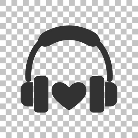 Headphones with heart. Dark gray icon on transparent background. Illustration