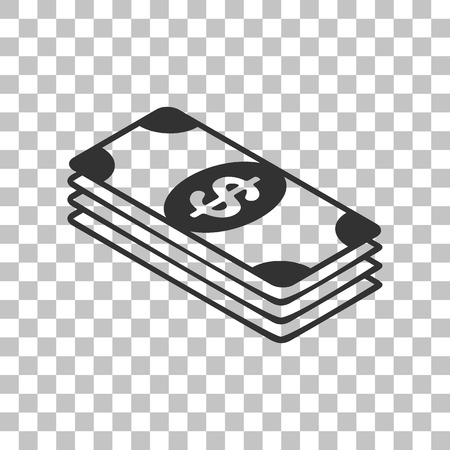 bank note: Bank Note dollar sign. Dark gray icon on transparent background.