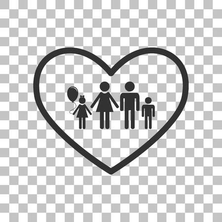 siloette: Family sign illustration in heart shape. Dark gray icon on transparent background. Illustration