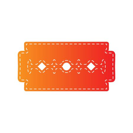blade: Razor blade sign. Orange applique isolated.