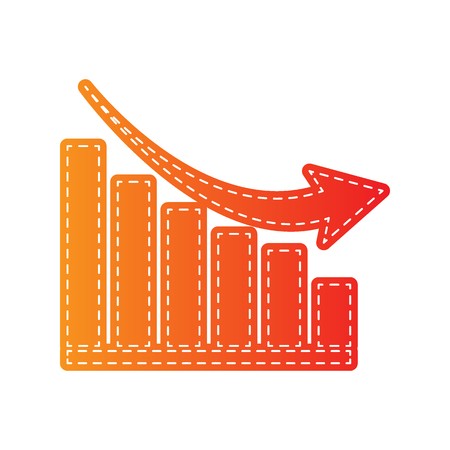declining: Declining graph sign. Orange applique isolated.