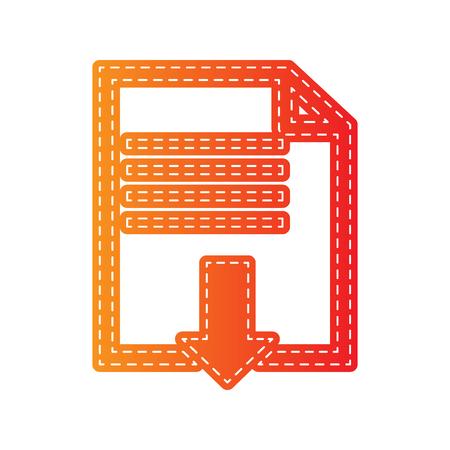 sign orange: File download sign. Orange applique isolated. Illustration