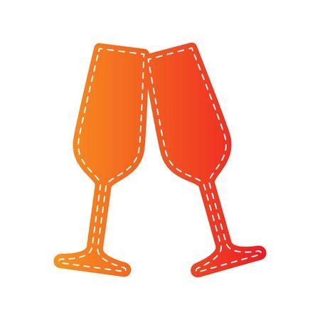 champagne orange: Sparkling champagne glasses. Orange applique isolated.