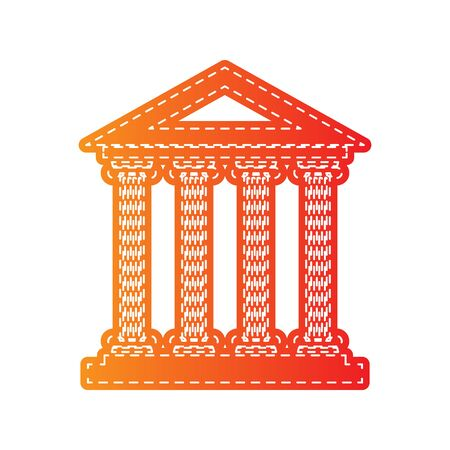 roman pillar: Historical building illustration. Orange applique isolated.