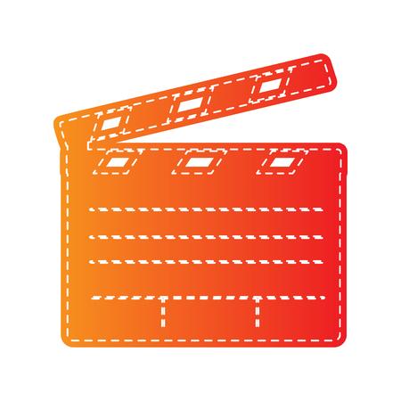 clap board: Film clap board cinema sign. Orange applique isolated.