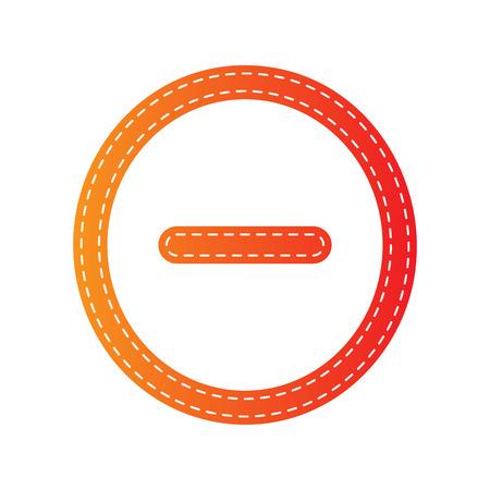 minus sign: Negative symbol illustration. Minus sign. Orange applique isolated. Illustration