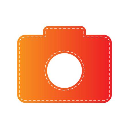 sign orange: Digital camera sign. Orange applique isolated.