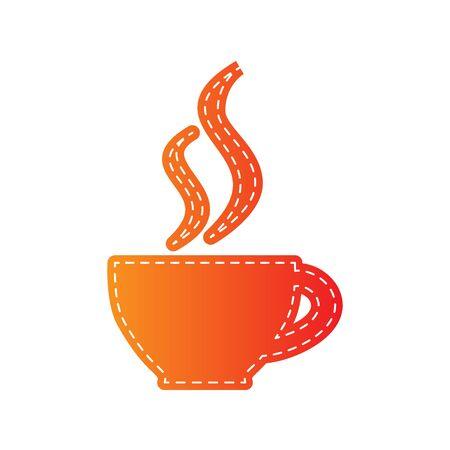 sign orange: Cup of coffee sign. Orange applique isolated. Illustration